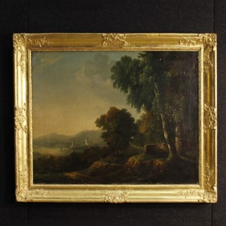 19th Century French Painting Landscape With Architectures