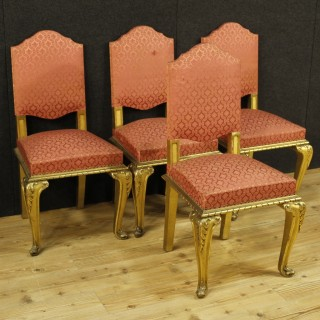 20th Century Group Of 4 Living Room Chairs In Golden Wood