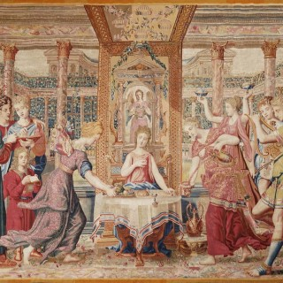 Extremely rare antique tapestry belonged to Louis XIV - Psyche's Meal in the Palace of Cupid
