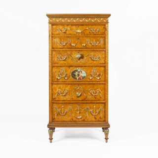 Tall Satinwood  Chest of Drawers in the Neoclassical Style