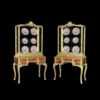 Pair of Gilt and Red Lacquer Display Cabinets