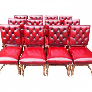 Set of 12 Gillows Style Red Leather Dining Chairs