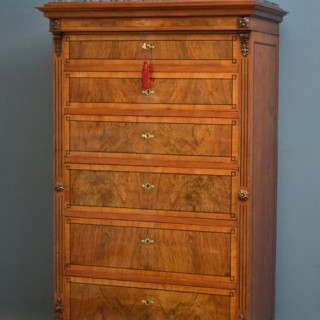 XIXth Century Continental Walnut Chest of Drawers