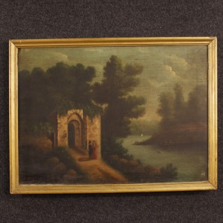 19th Century Spanish Painting Landscape With Ruins And Characters