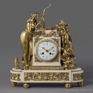 Louis XVI Style Gilt-Bronze and White Marble Clock