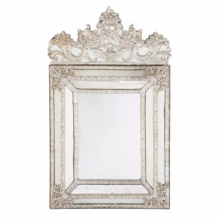 Baroque style large antique French silvered mirror