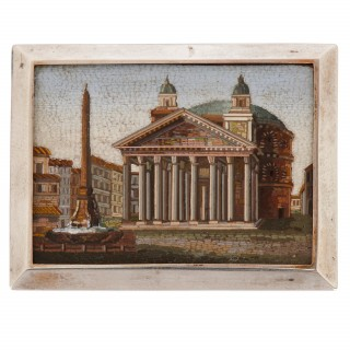 Italian antique micro-mosaic plaque of the Piazza della Rotunda in Rome, depicting the Pantheon