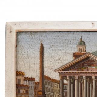 Italian antique micro-mosaic plaque of the Piazza della Rotunda in Rome, depicting the Pantheon