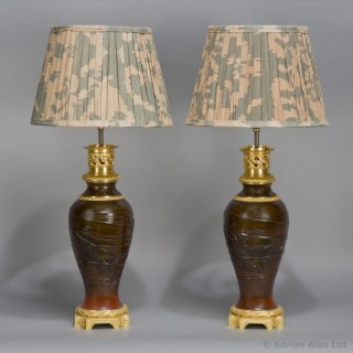 Pair of Japanese Patinated Bronze Vases Mounted as Lamps