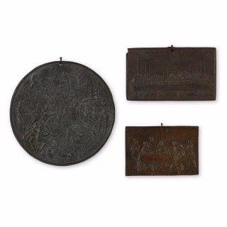 Trio of antique German cast iron plaques depicting scenes in the Renaissance style