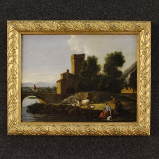 Italian Painting Landscape With Architectures And Figures