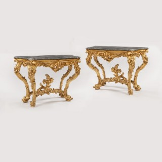 Pair of Rococo 18th Century Northern Italian Console Tables