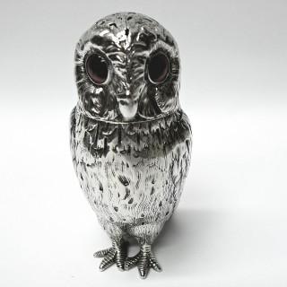Antique Silver Owl Condiment Set