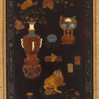 Chinese Qing period set of four mother-of-pearl, soapstone and lacquer panels
