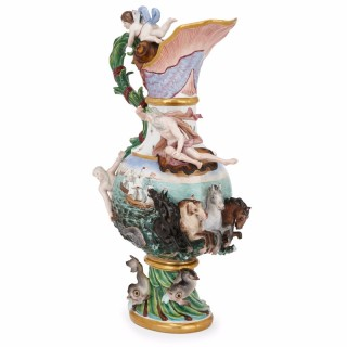 Large antique German 'Elemental ewer by Meissen porcelain, symbolising water