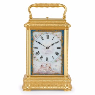 Large French Drocourt carriage clock with Sèvres porcelain panels and gilt bronze case