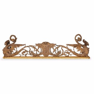 Gilt and silvered bronze antique French fireplace fender