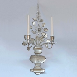 Pair of twin branch silver-plated and glass Baguès Wall Lights: