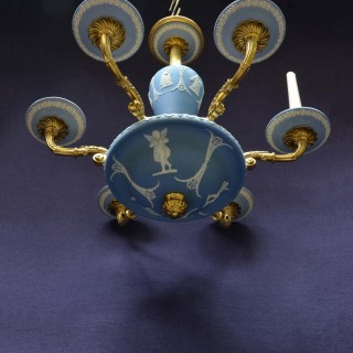 Six-branch classical gilt bronze and blue Wedgwood Chandelier
