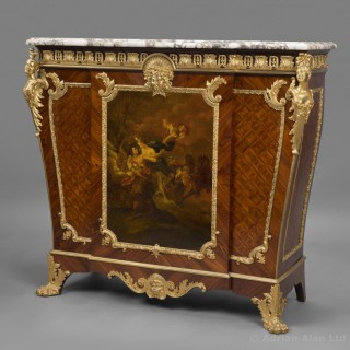 Louis XVI Style Parquetry and Vernis Martin Side Cabinet
