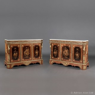 Pair of Napoléon III Marquetry Inlaid Side Cabinets