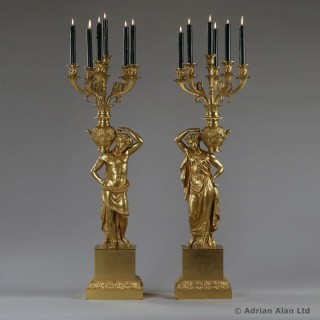 Pair of Gilt-Bronze Figural Empire Period Candelabra