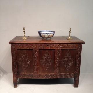 Charles II oak coffer.