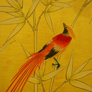 Pair of Folding Screens with Birds and Japanese Style Design