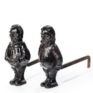 A Pair of large cast Iron andirons in the form of Tweedleddee and Tweedledum
