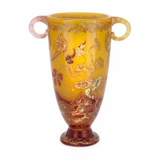 Twin handled, Art Nouveau period yellow glass vase by Emile Gallé