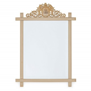 Antique mirror in a fine rectangular antique ivory frame