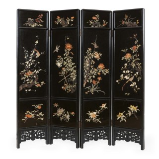 Soapstone and engraved ebonised wood four panel Chinese folding screen