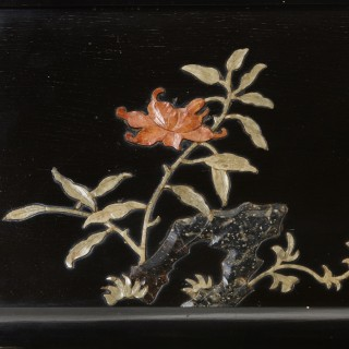 Soapstone and engraved ebonised wood four panel Chinese folding screen