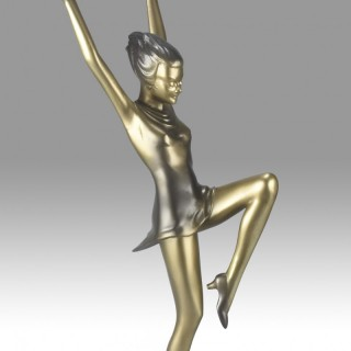 Lorenzl Art Deco Bronze Large Version 'Arms Up'