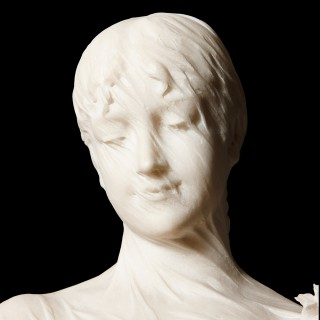 Italian antique carved marble bust of a veiled lady by Cesare Lapini