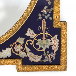 Antique Venetian ormolu and coloured glass large wall mirror