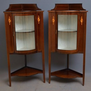 Edwardian Matched Pair of Corner Display Cabinets