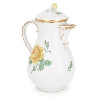 Large Meissen porcelain twelve person dessert service with floral design