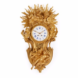 Antique ormolu large French cartel clock in the Belle Epoque style