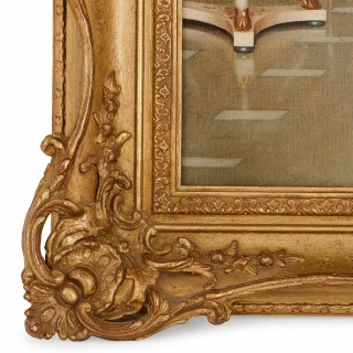 'A Shared Confidence' by Soulacroix, 19th Century oil painting in a carved giltwood frame