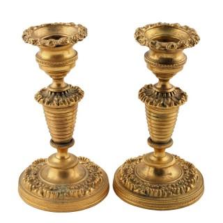 Petit Pair of Ormolu Candlesticks