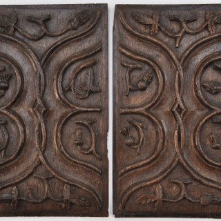 Pair of English Gothic carved oak panels