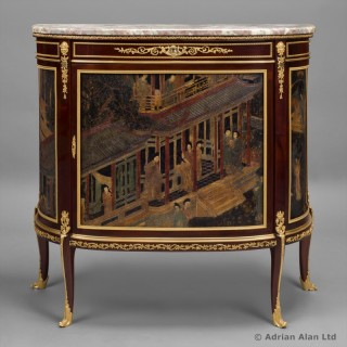 Louis XVI Style Lacquer Demi-Lune Commode