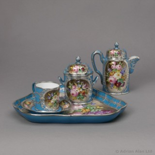 Silver Mounted Sèvres-Style Porcelain Cabaret Set