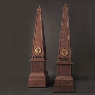 Set of Four Large Porphyry Obelisks