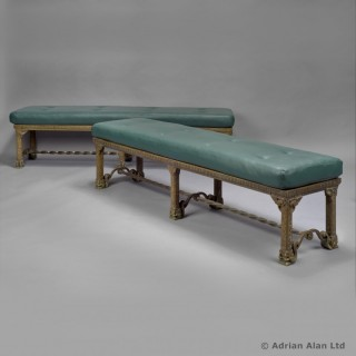 Pair of Bronze Hall Benches