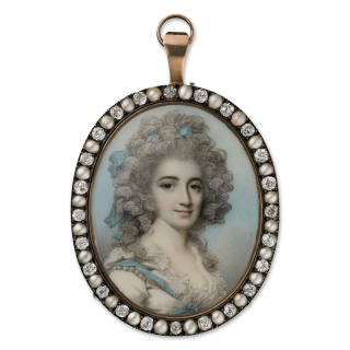 Portrait miniature of Harriet Paxton (née Gyll) (1762-94), wearing white dress with lace border and blue ribbon, pearls at her shoulder, matching blue ribbon in her powdered hair, c.1788
