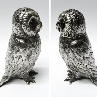 Antique Silver Owl Salt