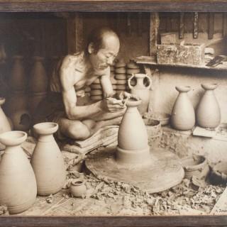 A FASCINATING JAPANESE SIGNED CARBON PRINT - HERBERT GEORGE PONTING -1870-1935
