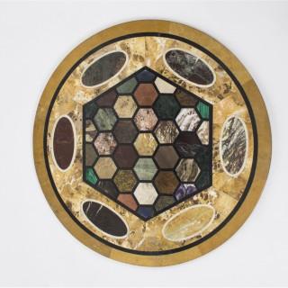 Antique Italian pietra dura circular table top